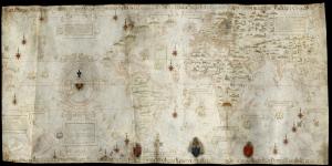 1529 Diego Ribero Eskitme Eski Cizim Dunya Haritasi HD Dunya Haritalari Cografya Canvas Tablo