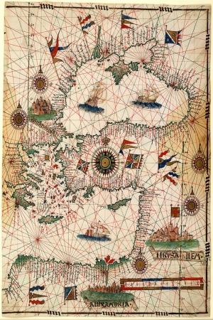 1546 Joau Freire Eski Harita Coğrafya Kanvas Tablo