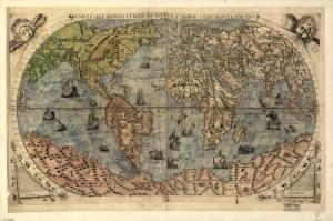 1565 Dunya Haritasi Eski Cizim Harita Cografya Canvas Tablo
