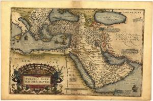 1570 Abraham Ortelius Arzervm Karadeniz Balkanlar Arap Yarimadasi Kafkasya Eski Cizim Antik Harita Cografya Kanvas Tablo
