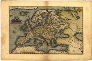 1570 Ortelius Avrupa Haritasi Eski Cizim Dunya Haritasi Cografya Kanvas Tablo