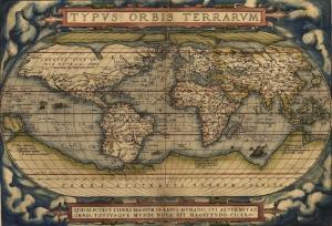 1570 Ortelius Dunya Haritasi Eski Cizim Dunya Haritasi Cografya Kanvas Tablo