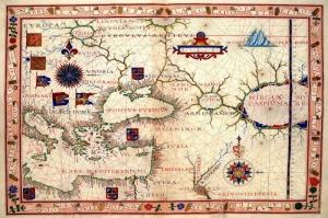 1570 Yilinda Cizilmis Ortadogu Balkanlar ve Kafkaslar Haritasi Cografya Kanvas Tablo