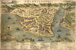 1573 Istanbul Turkiye Eskitme Eski Cizim Haritasi HD Dunya Haritalari Cografya Canvas Tablo