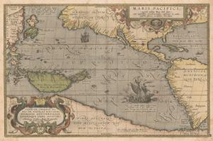 1589 Ortelius Avustralya Pasific Okyonusu Eski Cizim Antik Dunya Haritasi-cografya-canvas-tablo