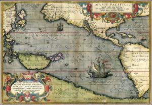 1589 Tarihli Avustralya Pasific Okyonusu Eski Cizim Dunya Haritasi Cografya Canvas Tablo