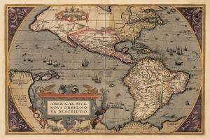 1598 Tarihli Amerika Kitasi Eski Cizim Dunya Haritasi Cografya Canvas Tablo