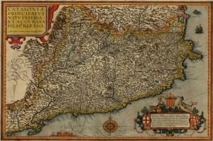 1608 Yilinda Cizilmis Akdeniz Ispanya Katalunya Eski Cizim Harita Cografya Kanvas Tablo