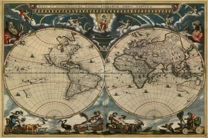1684 Blaeu'nun Cizdigi Eski Cizim Dunya Haritasi Antik Harita Cografya Canvas Tablo