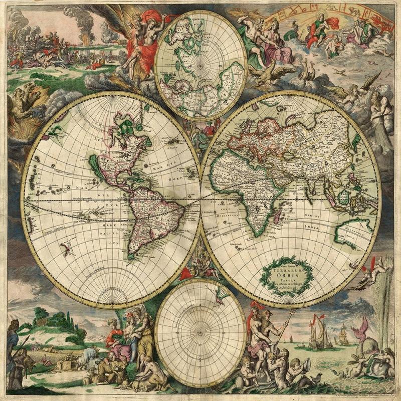 1689 Eski Cizim Dunya Haritasi Antik Harita Cografya Canvas Tablo