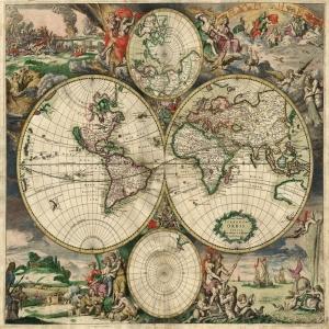 1689 Eski Çizim Dünya Haritası Antik Harita Coğrafya Kanvas Tablo