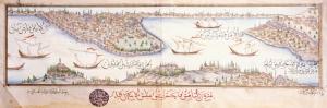 17.yuzyil 1600 Osmanli Minyaturlerinde Cizilmis Eski Istanbul Haritasi Cografya Canvas Tablo