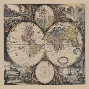 1728 Van Keulen Eski Cizim Dunya Haritasi 6 Cografya Canvas Tablo