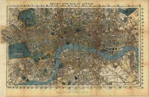 1860 Ingiltere Londra Haritasi Eski Harita Cografya Kanvas Tablo