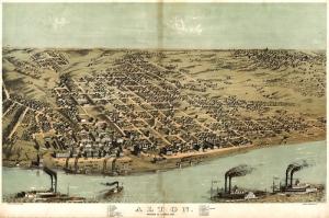 1867 Illinois Sehri Amerika Eski Cizim Sehir Haritasi Cografya Kanvas Tablo
