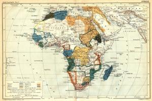 1886 Afrika Kitasi Fransiz Haritasi Eski Cizim Harita Kanvas Tablo