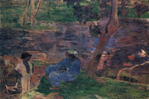 1887 On The Shore Of The Lake At Martinique dek Göl Kıyısında Paul Gauguin Reproduksiyon Kanvas Tablo