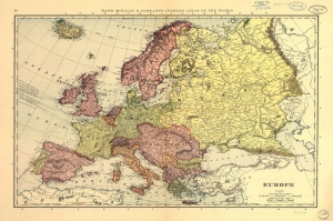 1891 Avrupa Haritasi Eski Cizim Harita Cografya Kanvas Tablo