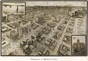 1912 Houston Sehri Amerika Eski Cizim Sehir Haritasi Cografya Kanvas Tablo