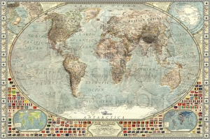 1914 Eski Cizim Dunya Haritasi Cografya Canvas Tablo
