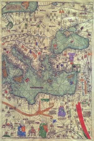 Abraham ve Jehuda Cresques Eski Çizim Dünya Haritası Coğrafya Kanvas Tablo
