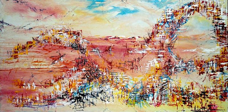 Abstract Kompozisyon 3 Yağlı Boya Sanat Kanvas Tablo