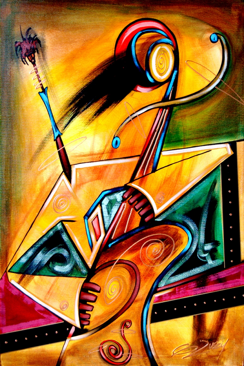 Abstract Soyut Afrika Müzik Aletleri-4 Kanvas Tablo