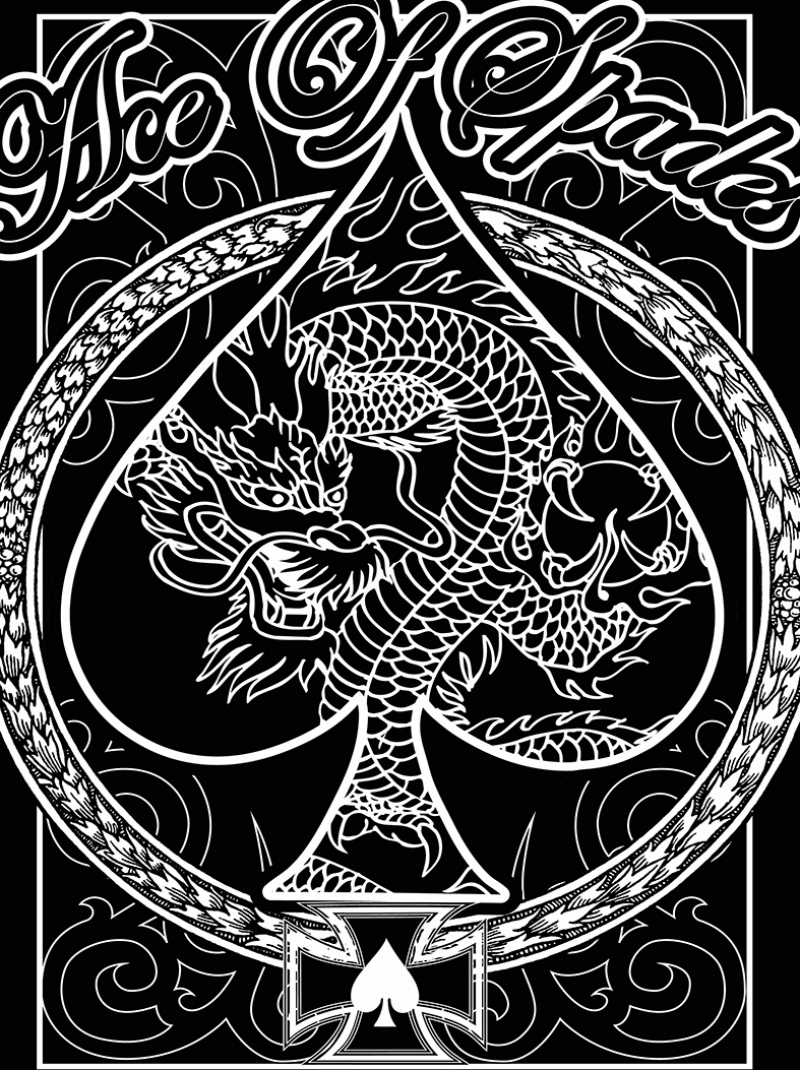 Ace Of Spides Siyah Beyaz Ejderha Popüler Kültür Kanvas Tablo