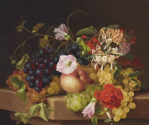 Adelheid Ietrich Meyve ve Çiçekler Yağlı Boya Klasik Sanat Eserleri Kanvas Tablo