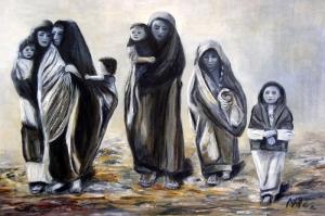 Afgan Kadinlari ve Cocuklari Yagli Boya Sanat Kanvas Tablo