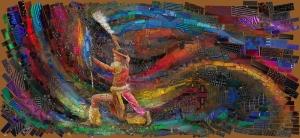 Afrika Foklorik Dans Abstract Kanvas Tablo