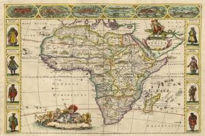 Afrika Kitasi Eskitme Eski Cizim Dunya Kita Haritasi Cografya Kanvas Tablo