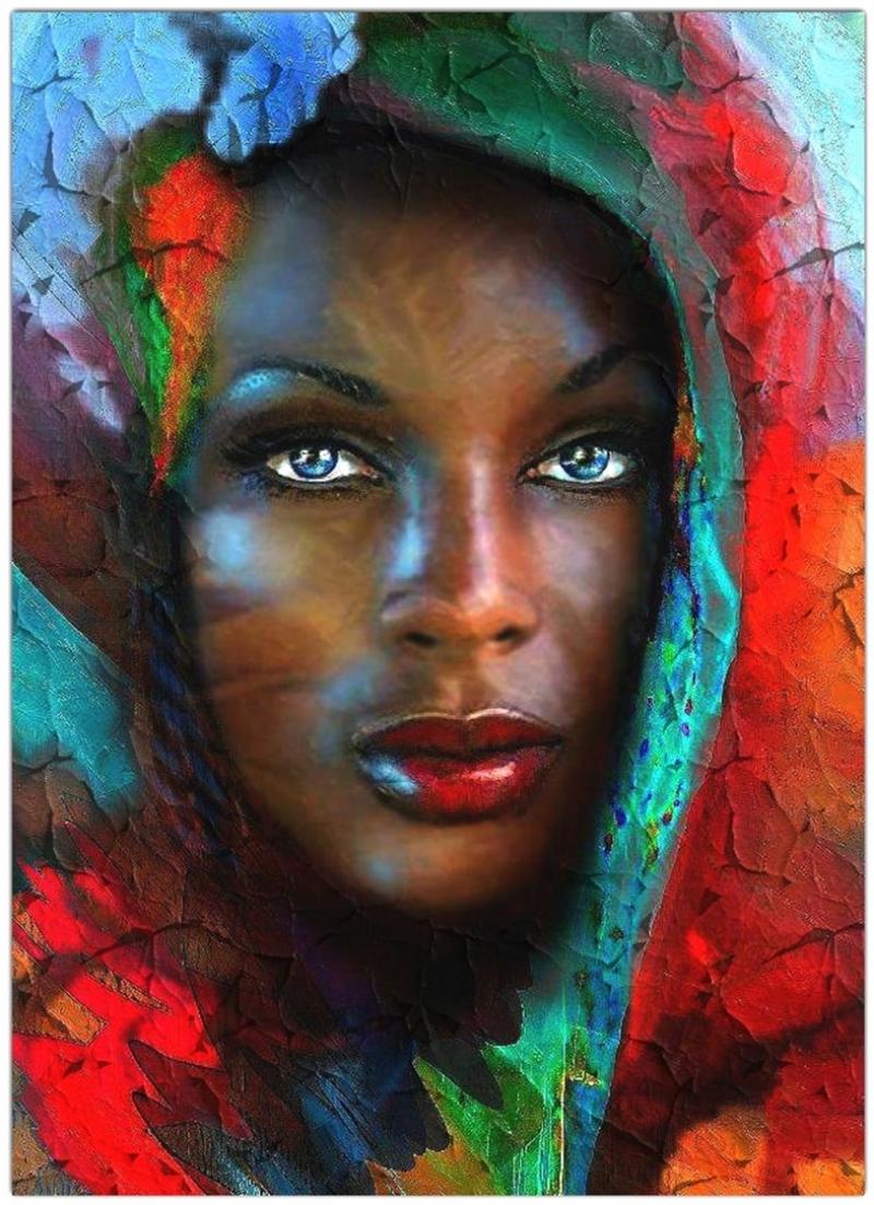 Afrikalı Güzel Yağlı Boya Sanat Kanvas Tablo