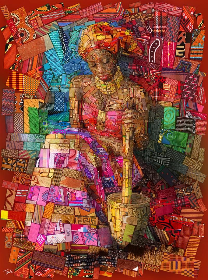 Afrikalı Kadın Mozaik Abstract Kanvas Tablo