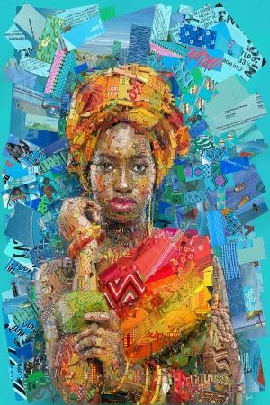 Afrikalı Kadın Mozaik İllustrasyon Kanvas Tablo