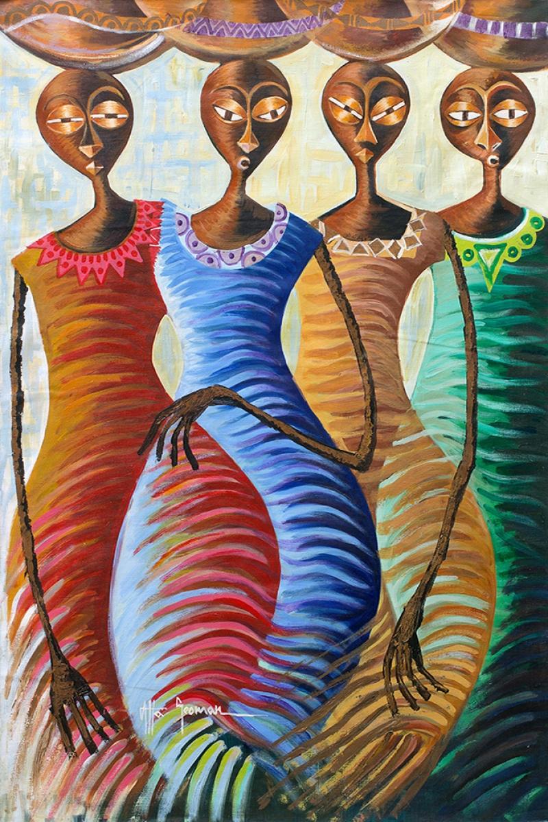 Afrikali Kadinlar-8 Sanat Kanvas Tablo