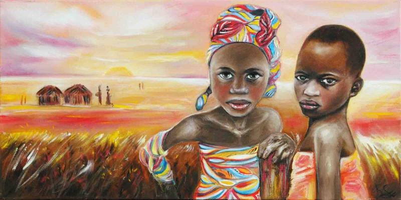 Afrikalı Kızlar Manzara Sanat Kanvas Tablo