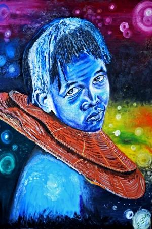 Afrikalı Koruma Portre 2 Yağlı Boya Dekoratif Modern Kanvas Tablo