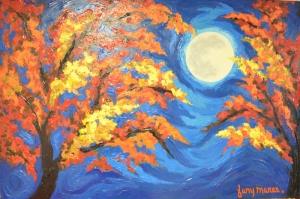 Ağaçlar Ve Güneş Sanat Kanvas Tablo