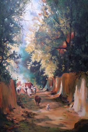 Ahıra Dönüş Hayvanlar, Doğa Manzaraları Yağlı Boya  Modern Kanvas Tablo