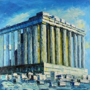 Akropoli Antik Kent Yunanistan İç Mekan Dekoratif Kanvas Tablo