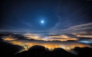 Akşam Gökyüzü Yıldızlar Dağlar 1 Dünya & Uzay Kanvas Tablo
