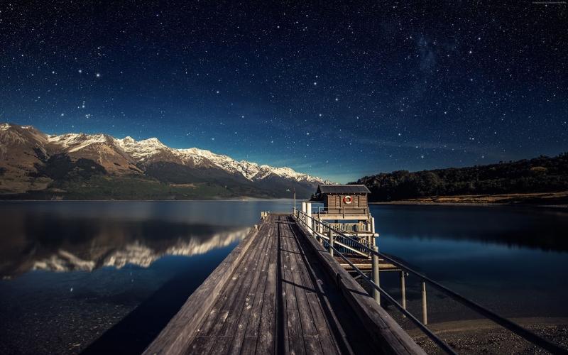 Akşam Gökyüzü Yıldızlar Dağlar 2 Dünya & Uzay Kanvas Tablo