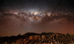 Akşam Gökyüzü Yıldızlar Dağlar 5 Dünya & Uzay Kanvas Tablo