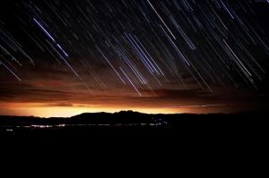 Akşam Gün Batımı Yıldızlar Dünya & Uzay Kanvas Tablo