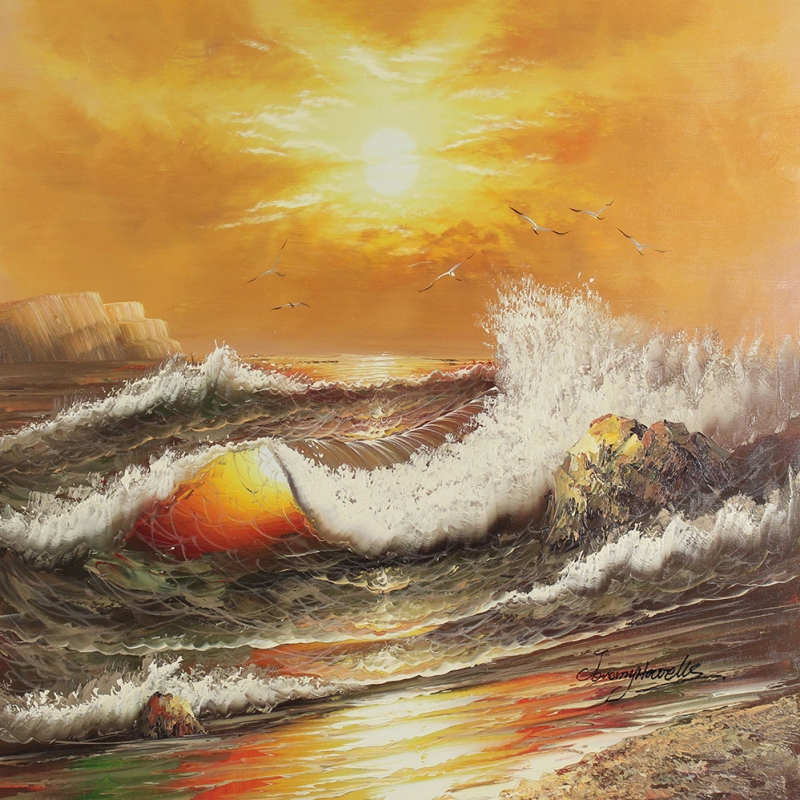 Akşam Işığında Dalgalar 1, Deniz, Doğa Manzaraları Dekoratif Kanvas Tablo