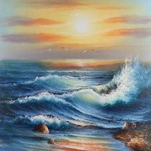 Akşam Işığında Dalgalar 2, Deniz, Doğa Manzaraları Dekoratif Kanvas Tablo