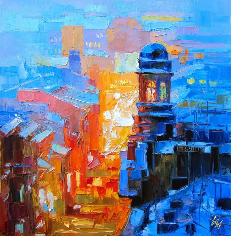 Akşam Işıkları Şehir Manzaraları 1 İç Mekan Dekoratif Kanvas Tablo