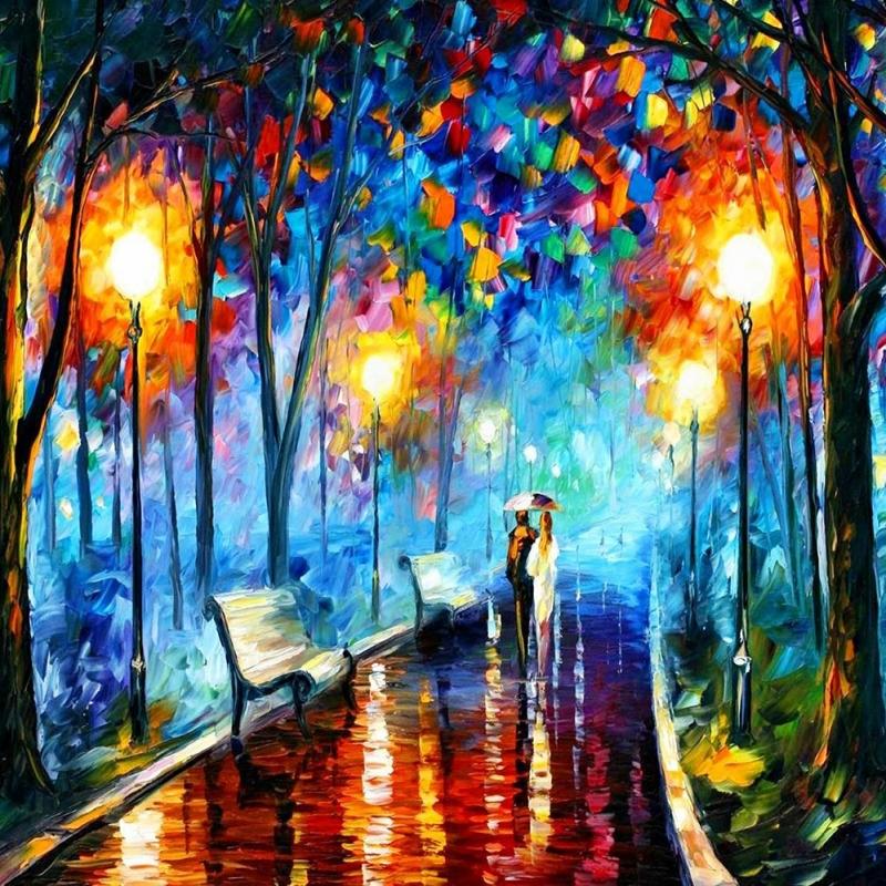 Akşam Işıkları Şehir Manzaraları Afremov 1 İç Mekan Dekoratif Kanvas Tablo