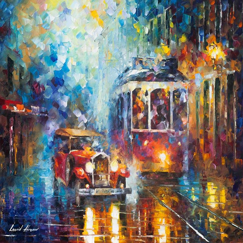 Akşam Işıkları Şehir Manzaraları Afremov 11 İç Mekan Dekoratif Kanvas Tablo